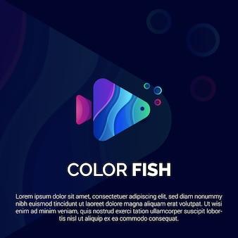 Modelo de logotipo de peixe colorido