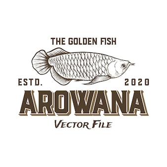 Modelo de logotipo de peixe dourado de aruanã
