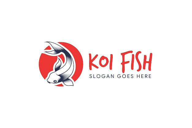 Modelo de logotipo de peixe koi