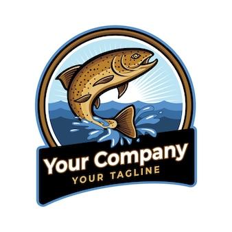Modelo de logotipo de peixe ou pesca de truta