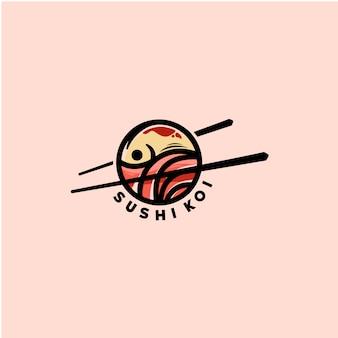 Modelo de logotipo de peixe sushi