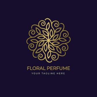 Modelo de logotipo de perfume floral de luxo