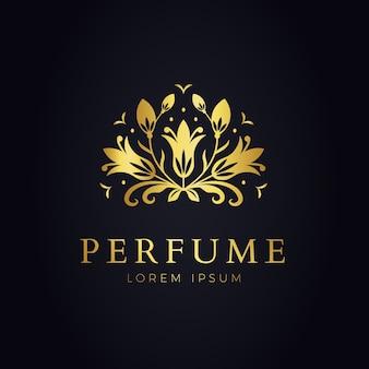 Modelo de logotipo de perfume floral luxuoso