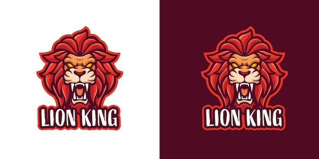 Modelo de logotipo de personagem da mascote do leão ruge