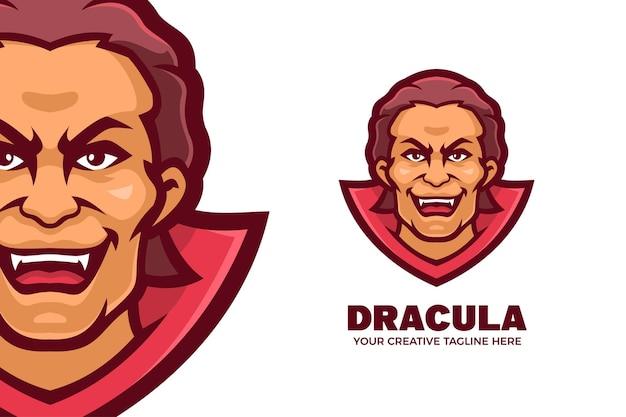 Modelo de logotipo de personagem da mascote do vampiro drácula