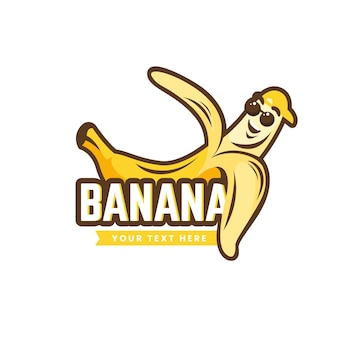 Modelo de logotipo de personagem de banana