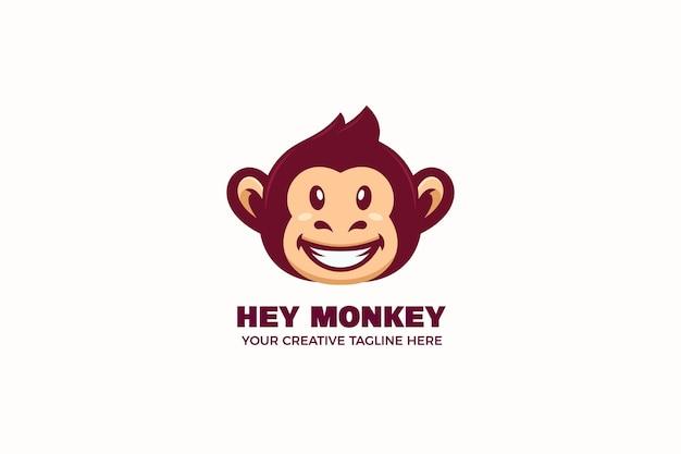 Modelo de logotipo de personagem de macaco mascote sorridente