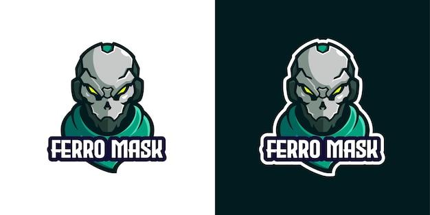 Modelo de logotipo de personagem de mascote de armadura de máscara