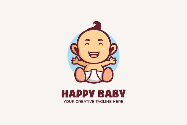 Modelo de logotipo de personagem de mascote de bebê fofo feliz