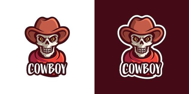 Modelo de logotipo de personagem de mascote de caveira de vaqueiro