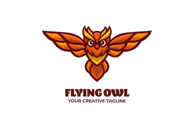 Modelo de logotipo de personagem de mascote de coruja voadora