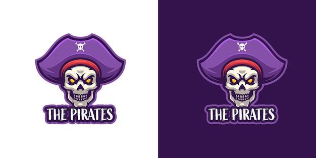 Modelo de logotipo de personagem de mascote de crânio de pirata