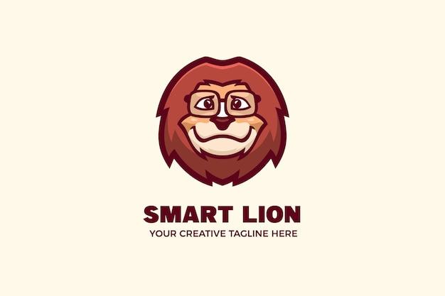 Modelo de logotipo de personagem de mascote de leão usa óculos