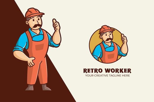 Modelo de logotipo de personagem de mascote de trabalhador manual