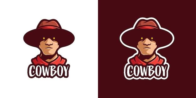 Modelo de logotipo de personagem de mascote de vaqueiro assustador
