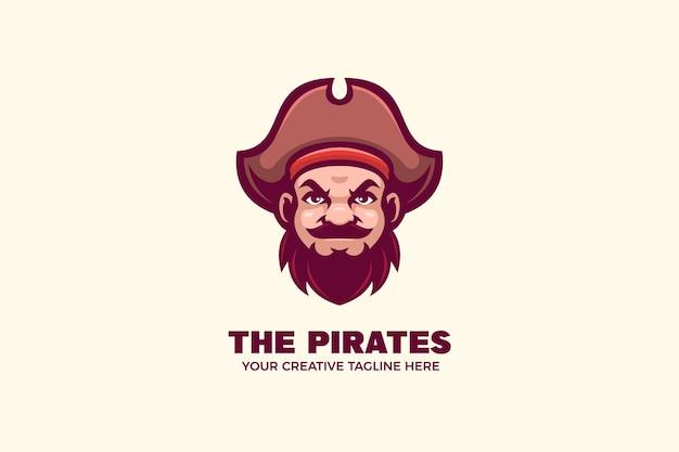 Modelo de logotipo de personagem de mascote pirata