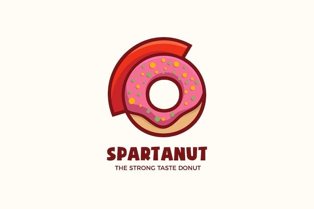 Modelo de logotipo de personagem donut gladiator bakery mascote