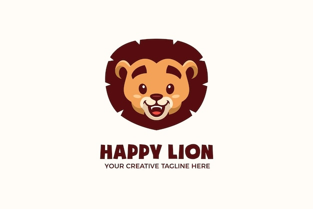 Modelo de logotipo de personagem mascote de cabeça de leão bebê fofo