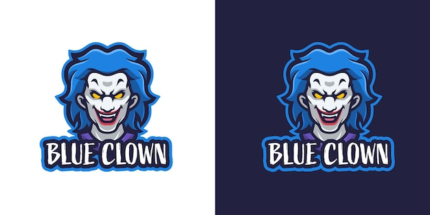 Modelo de logotipo de personagem mascote de halloween palhaço assustador