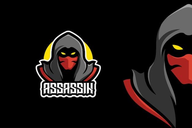Modelo de logotipo de personagem mascote ninja assassin warrior