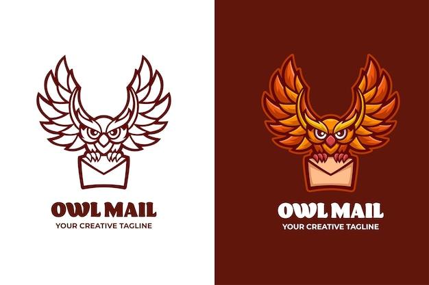 Modelo de logotipo de personagem owl mail postman mascote