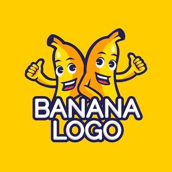 Modelo de logotipo de personagens de banana
