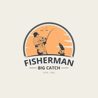 Modelo de logotipo de pescador