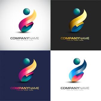 Modelo de logotipo de pessoas 3d abstrata para sua marca de empresa
