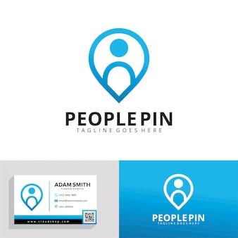 Modelo de logotipo de pin de pessoas