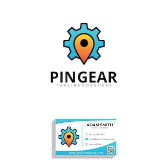 Modelo de logotipo de pin gear