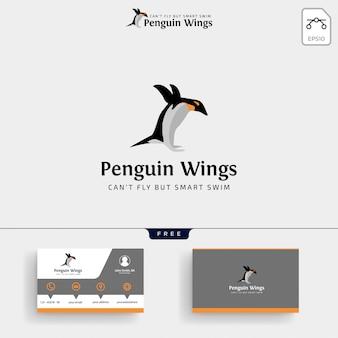 Modelo de logotipo de pinguins e cartão de visita
