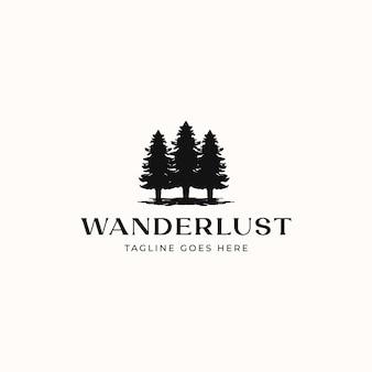 Modelo de logotipo de pinheiro isolado