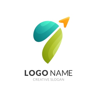 Modelo de logotipo de pino e seta, logotipo 3d moderno