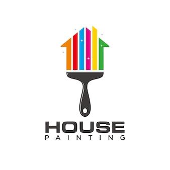 Modelo de logotipo de pintura de casa