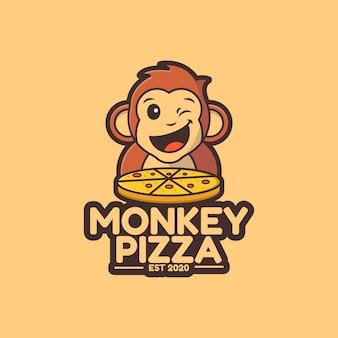 Modelo de logotipo de pizza de macaco fofo de ilustração