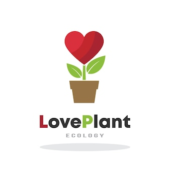 Modelo de logotipo de planta de amor