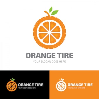 Modelo de logotipo de pneu de fruta laranja
