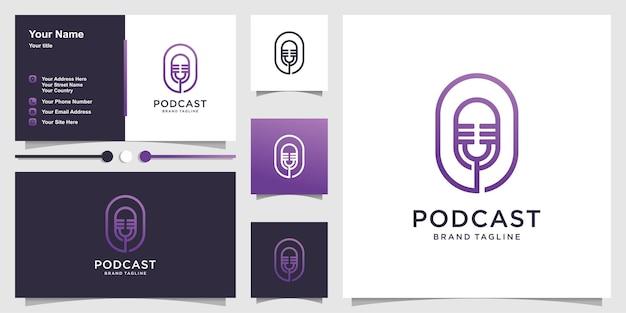 Modelo de logotipo de podcast com conceito criativo e design de cartão de visita