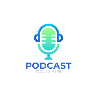 Modelo de logotipo de podcast com detalhes
