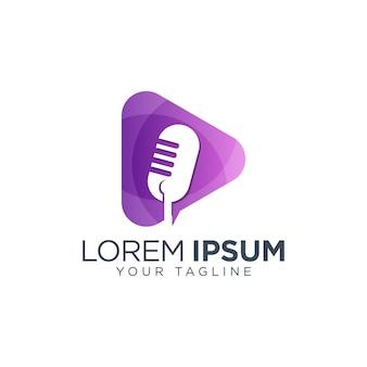 Modelo de logotipo de podcast de áudio mic
