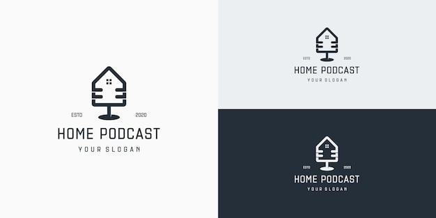 Modelo de logotipo de podcast de imóveis. logotipo de comunicação doméstica de podcast
