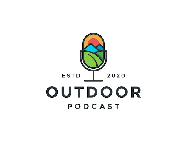 Modelo de logotipo de podcast de microfone minimalista