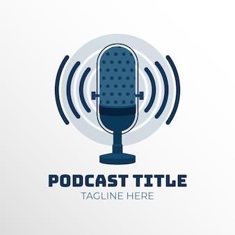 Modelo de logotipo de podcast de microfone
