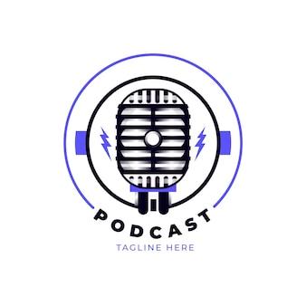 Modelo de logotipo de podcast detalhado com microfone