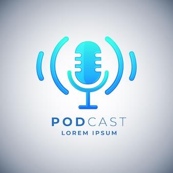 Modelo de logotipo de podcast detalhado