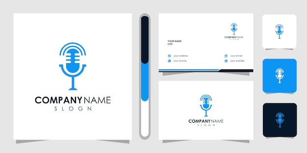 Modelo de logotipo de podcast e cartão de visita
