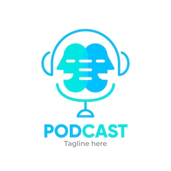 Modelo de logotipo de podcast interessante
