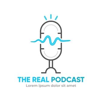 Modelo de logotipo de podcast minimalista