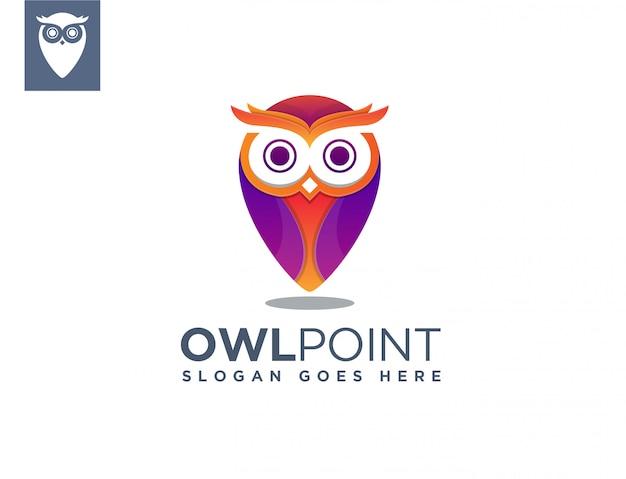 Modelo de logotipo de ponto de mapa de coruja