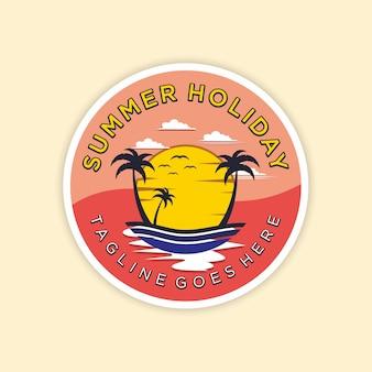 Modelo de logotipo de praia de verão vetor premium